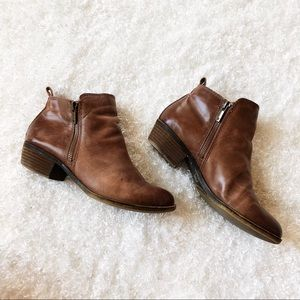 Lucky Brand Brown Distressed Leather Ankle Boots